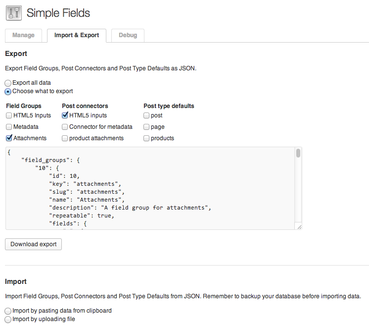 Screenshot showing an export and import feature of the Simple Fields WordPress Plugin